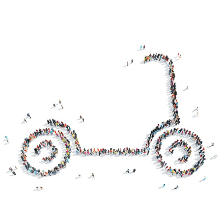 naturalist: A group of people in the shape of a scooter, sports, flash mob.
