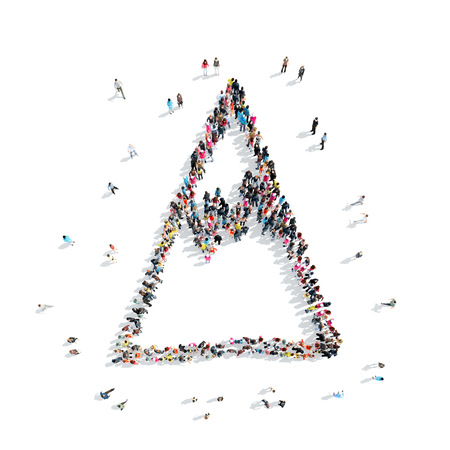 aviary: A group of people in the shape of a mountain, cartoon, flash mob.