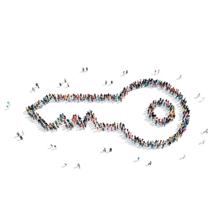 A group of people in the shape of a key, a flash mob. Stockfoto