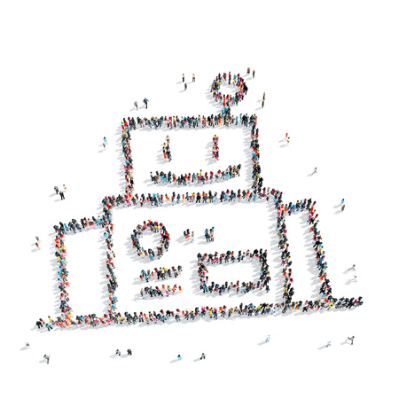 business group: A group of people in the form of an abstract symbol , flash mob.