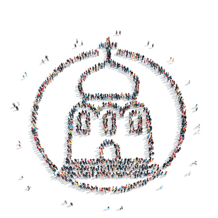 church group: A group of people in the shape of church, religion, flashmob. Stock Photo