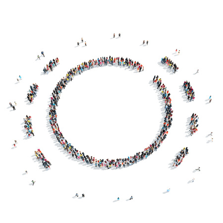 mob: A group of people in the shape of a circle, a flash mob. Stock Photo