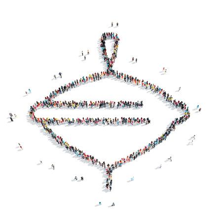 molinete: Un grupo de personas en la forma de una perinola, juguete, flash mob. Foto de archivo