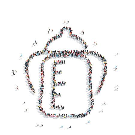 llave de sol: Un grupo de personas en la forma de las botellas, chupetes, flash mob de los niños. Foto de archivo