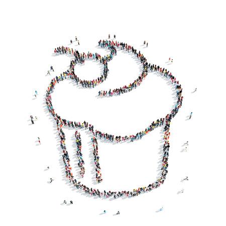 balon de voley: Un grupo de personas en forma de pasteles, cafetería, un flash mob.