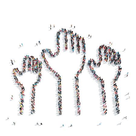 抜け目がない暴徒の好意で上げられた手の形をした人々 のグループ。
