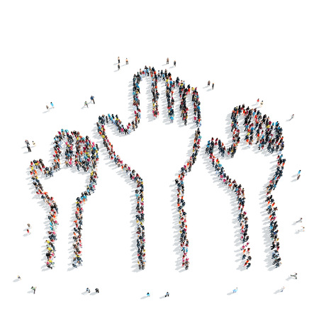 raised: A group of people in the shape of raised hands in favor, flash mob. Stock Photo
