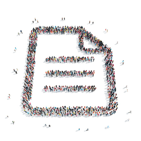 reversing: A group of people in the shape of a sheet of letter. Stock Photo