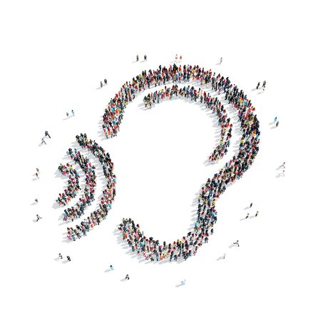 telepathy: A group of people in the shape of an ear, a flash mob. Stock Photo