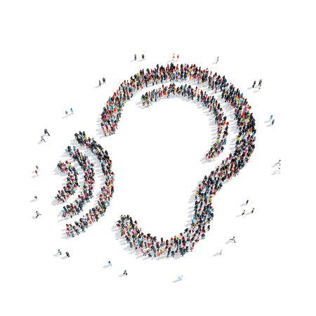 Een groep mensen in de vorm van een oor, een flash mob.