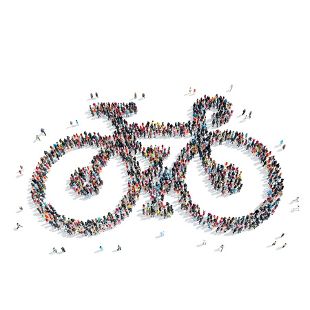 mob: A group of people in the shape of a bicycle, a flash mob.