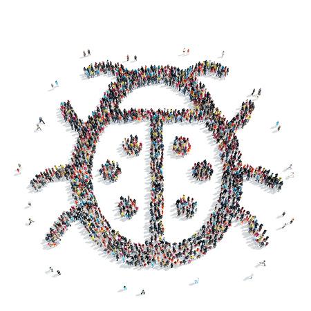 origen animal: Un grupo de personas en la forma de un escarabajo, un flash mob. Foto de archivo