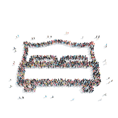 mob: A group of people in the shape of a bed, a flash mob. Stock Photo