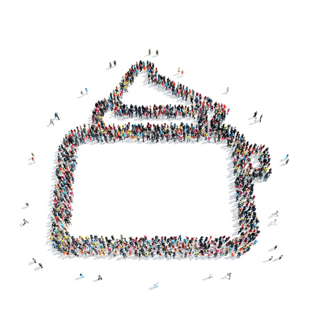 sharpening process: A group of people in the shape of a toaster, isolated, white background.
