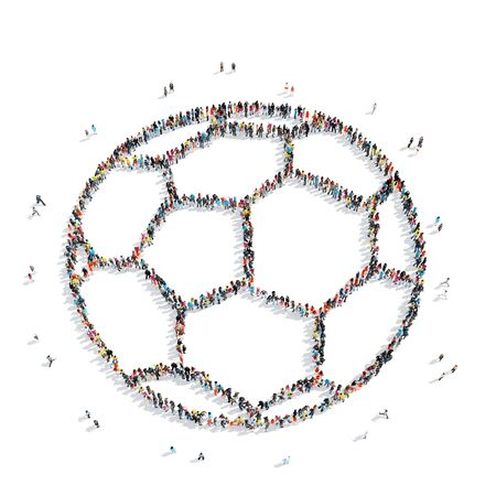control of body movement: A group of people in the shape of a soccer ball, sports, cartoon, isolated, white background.