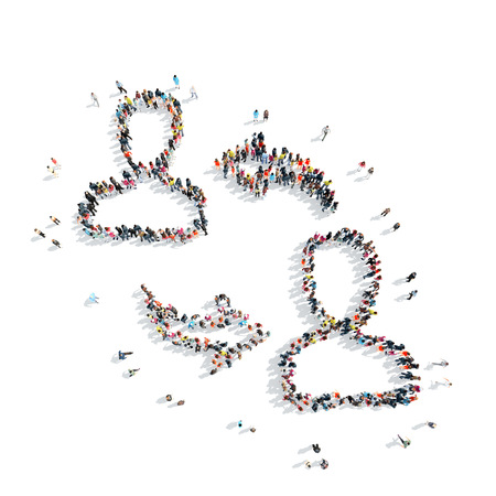 communication cartoon: A group of people in the shape of man, communication, cartoon, isolated, white background.