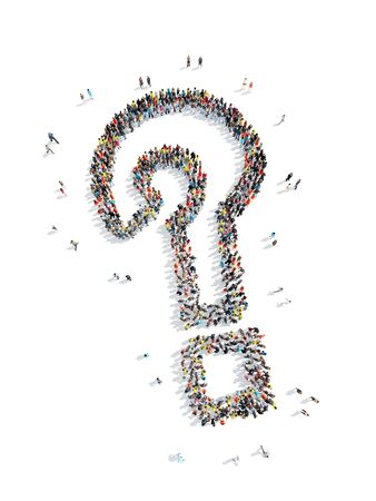 A group of people in the shape of a question mark, cartoon, isolated, white background.