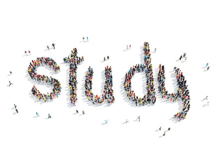 study group: A group of people in the shape of study, school, cartoon, isolated, white background.