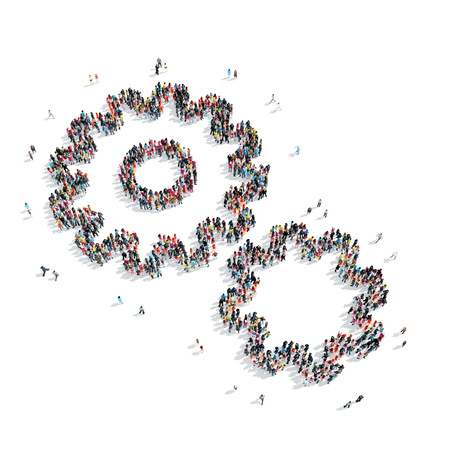 forming: A group of people in the shape of gear, isolated on a white background.