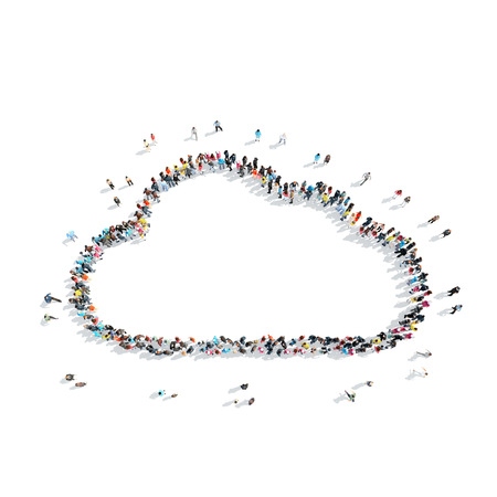 middle air: A group of people in the shape of a cloud, weather, cartoon, isolated, white background.