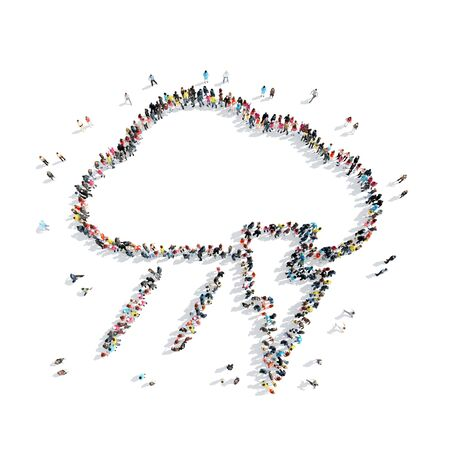 hi five: A group of people in the shape of a cloud, weather, cartoon, isolated, white background.