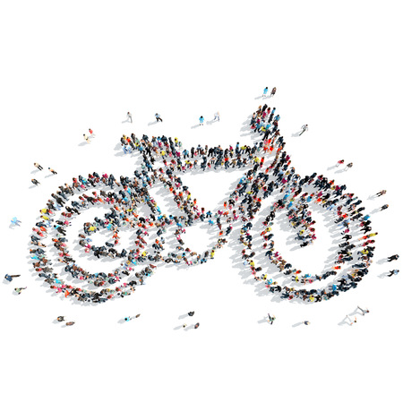 A group of people in the shape of a bicycle, sports, cartoon, isolated, white background.