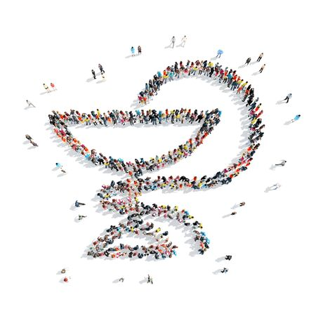 injection valve: A group of people in the shape of medical symbol, isolated, white background. Stock Photo