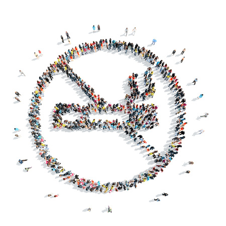prohibitive: A group of people in the shape of smoking ban, isolated, white background. Stock Photo