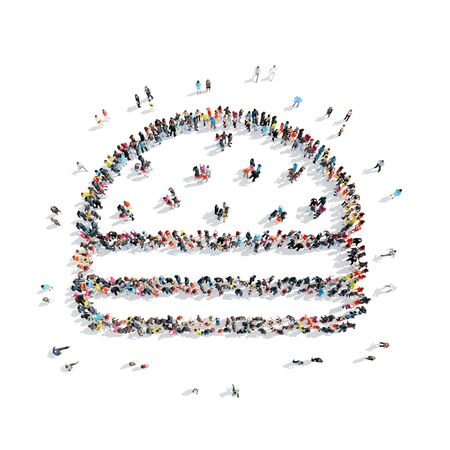 refusing: A group of people in the shape of a burger, fast food, isolated on white background.