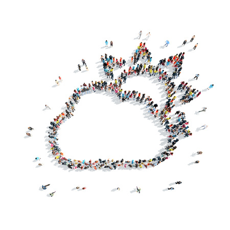 refuge: A group of people in the shape of a cloud, weather, isolated on a white background.