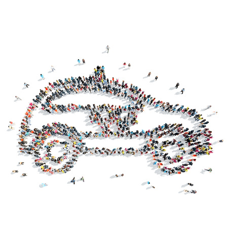 three generations: A group of people in the shape of taxis, cartoon, isolated, on a white background.