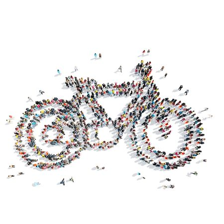 urban grunge: A group of people in the shape of a bicycle, sports, isolated on a white background. Stock Photo