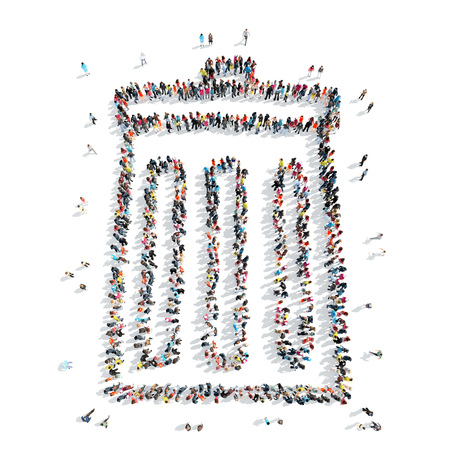 A group of people in the shape of trash, cartoon, isolated, on a white background. Stock Photo