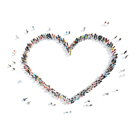 nobody: A group of people in the shape of heart, love, cartoon, isolated on a white background. Stock Photo