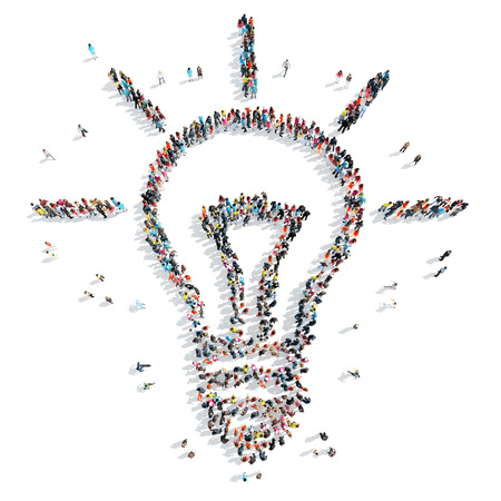 ingenuity: A group of people in the shape of light, idea cartoon isolated on a white background.