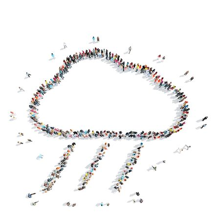 middle air: A group of people in the shape of a cloud, weather, cartoon, isolated, on a white background. Stock Photo