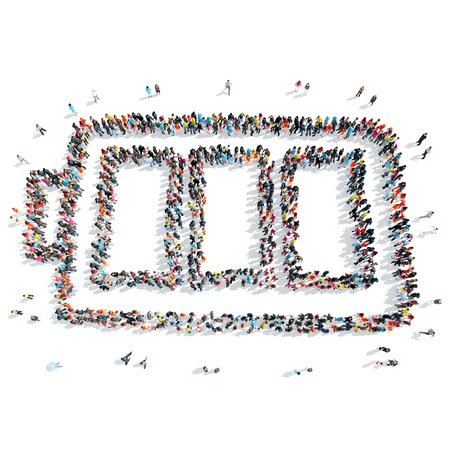 A group of people in the shape of battery, cartoon , isolated on a white background.
