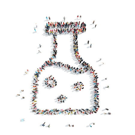 team leadership: A group of people in the shape of bulb, medicine, cartoon isolated on a white background.