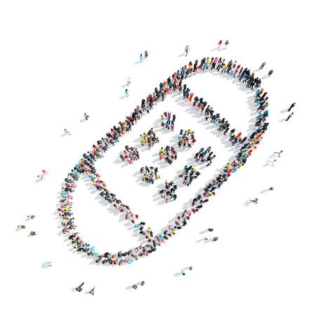 A group of people in the shape of a patch, medicine, cartoon isolated on a white background.