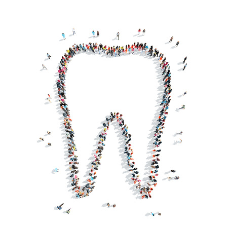 sprain: A group of people in the shape of a tooth, medicine, cartoon isolated on a white background.
