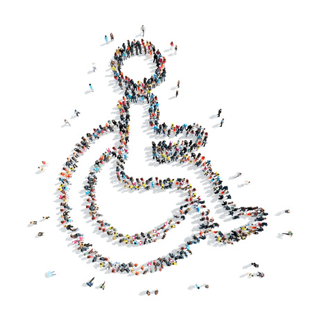 personas discapacitadas: Un grupo de personas en la forma de una discapacidad, la medicina, de la historieta aislado en un fondo blanco. Foto de archivo