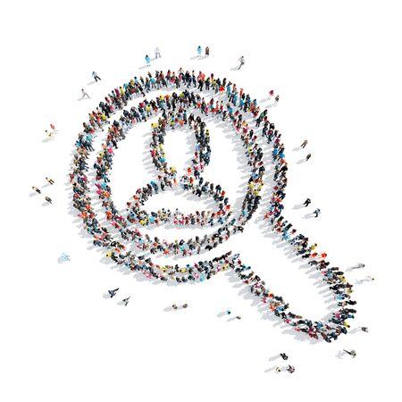 policia caricatura: Un grupo de personas en la forma de una lupa, hombre, dibujos animados, aislado en un fondo blanco. Foto de archivo