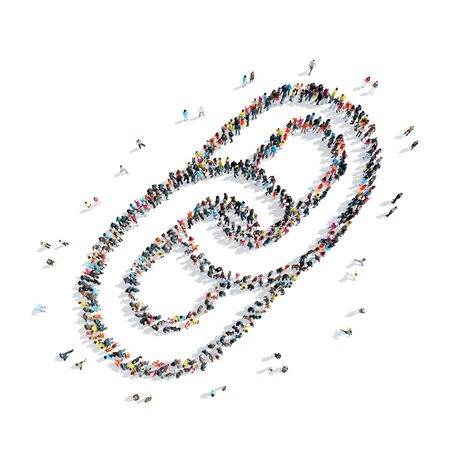 A group of people in the shape of a chain, cartoon, isolated on a white background.