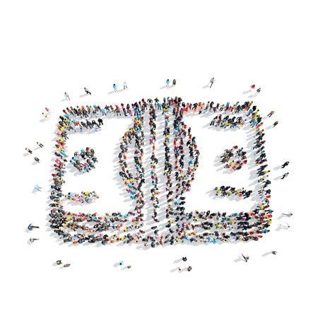 dolar: Un grupo de personas en la forma de un signo Dolar, el dinero, de dibujos animados, aislado en un fondo blanco.