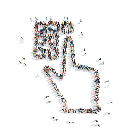 stupid body: A group of people in the shape of a hand, a pin code, cartoon, isolated on a white background.