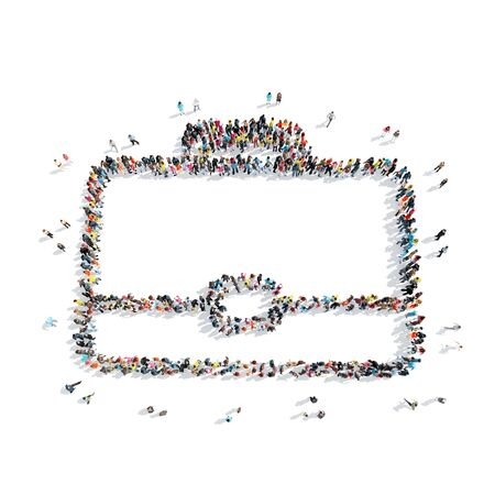 A group of people in the shape of briefcase, cartoon, isolated on a white background. Stock Photo