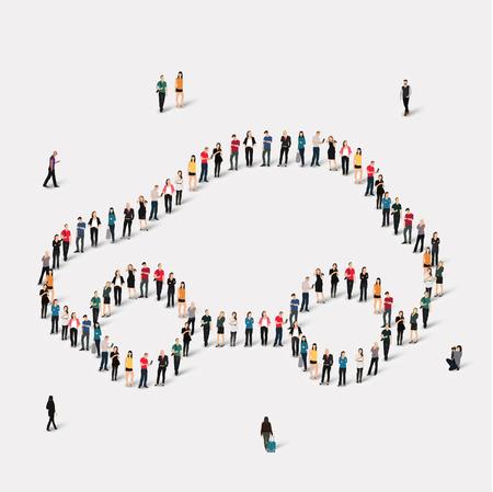 silhouette voiture: Grand groupe de personnes en forme de voiture. Vector illustration. Illustration
