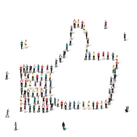 Een grote groep mensen in vorm Like, vector, geïsoleerde, witte achtergrond. Stockfoto - 45043200
