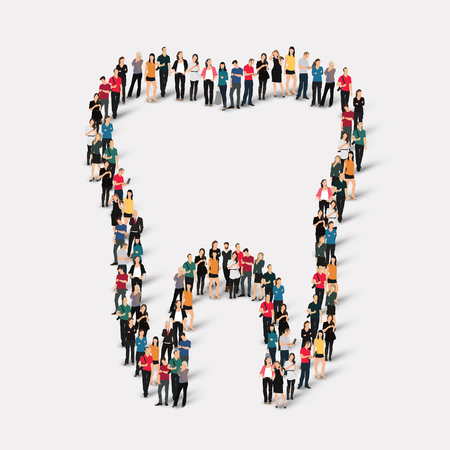 square root: Large group of people in the shape of  tooth.Dental medicine . Vector illustration