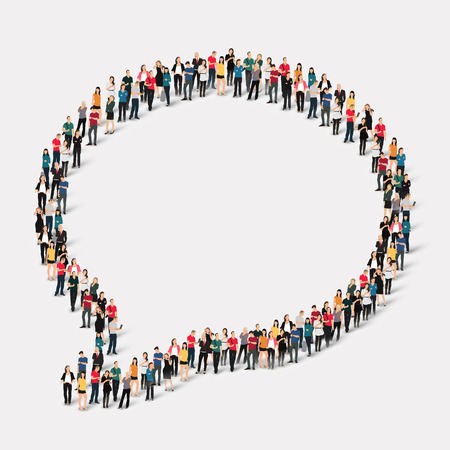 Large group of people in the shape of chat bubbles. Vector illustration